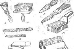 Инструменты для ручной покраски: а, б — металлические шпатели; в, г — деревянные шпатели; д — маховая кисть; е — макловица; ж —ручник; з — флейц; и, к— филенчатые кисти; л — торцовка; м — пульверизатор из комплекта бытового пылесоса с банкой; н — валик.