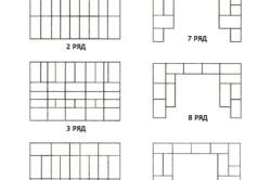 Схема кладки 1-10 рядов камина