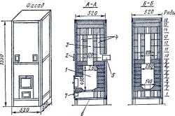 Схема отопительной каркасной печи повышенного прогрева