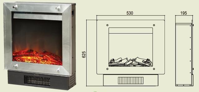 Камин электрический, схема и размеры