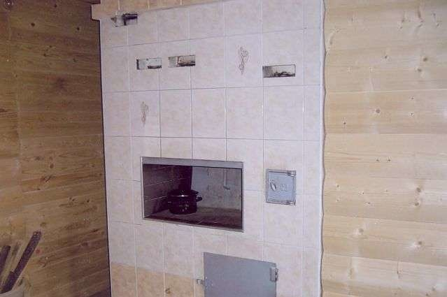 Печь, обложенная плиткой