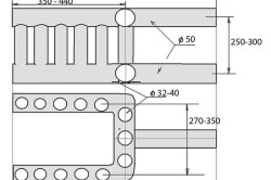 Рис. 3. Чертеж теплообменника из труб для печи с водяным отоплением