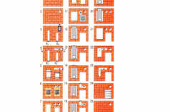 Схема расположения глиняного, шамотного кирпича в каждом ряду
