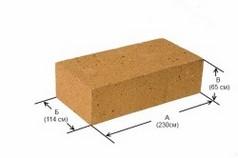 Схема размеров стандартного шамотного кирпича.