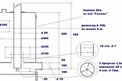 Схема монтажа печи на отработанном масле с размерами