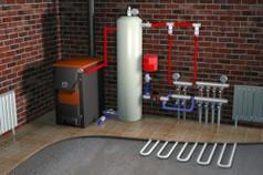 Пример системы отполения с применением твердотопливного котла