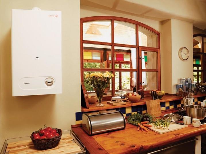 Пример установленного газового подвесного водонагревателя.