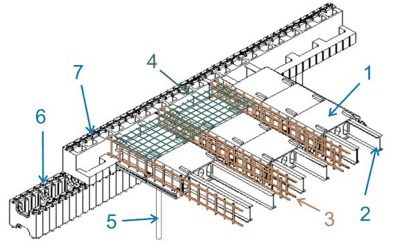Устройство перекрытия с использованием потолочных пенополистирольных блоков