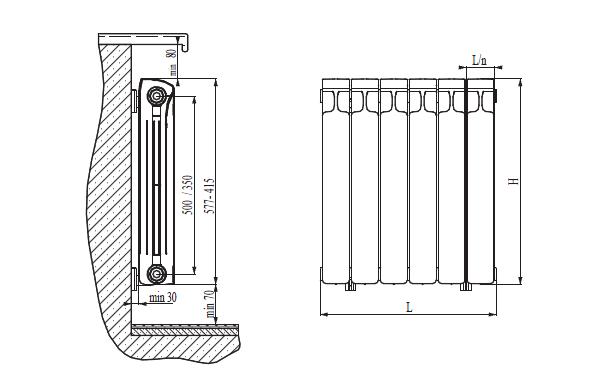 Чертеж биметаллического радиатора