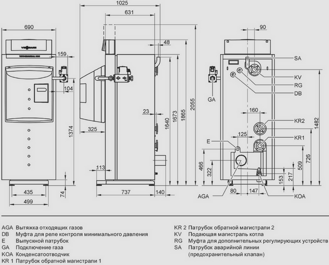 Схема конденсационного газового водогрейного котла