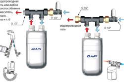 Схема монтажа проточного нагревателя