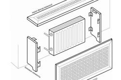 Схема монтажа решетки для батареи