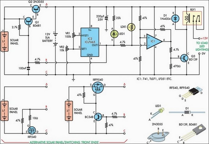 Схема солнечной батареи автоматического освещения двора
