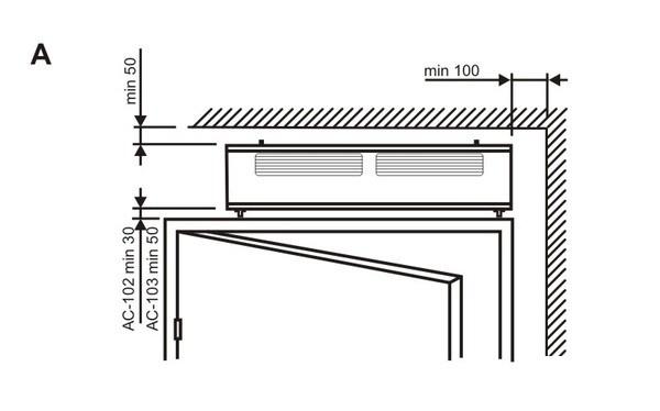 Схема определения параметров тепловой завесы.