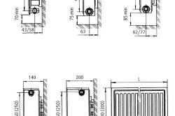 Монтажные размеры радиаторов