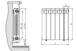 Размеры алюминиевого радиатора