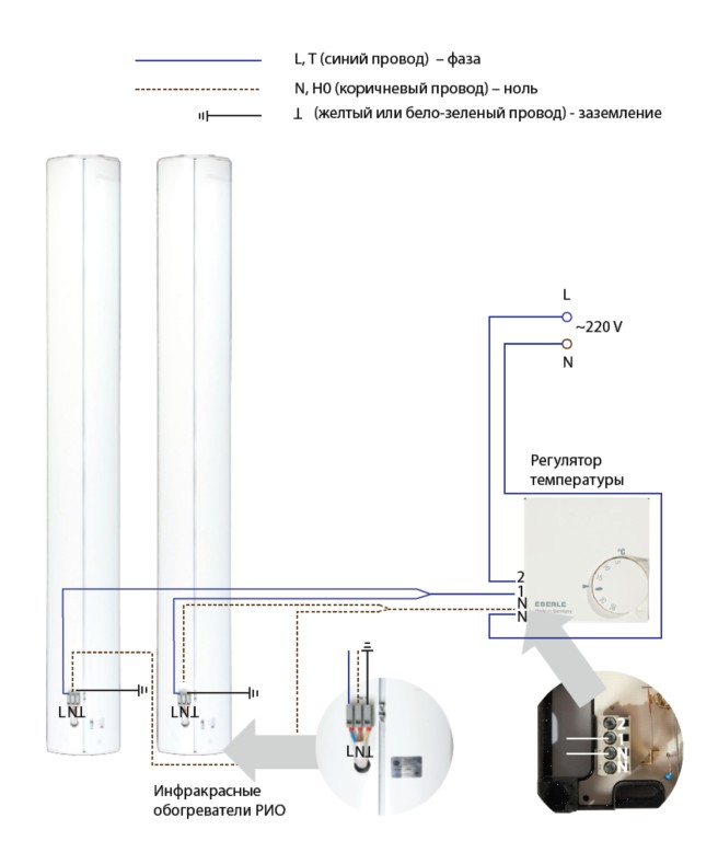 Схема подключения инфракрасного обогревателя.