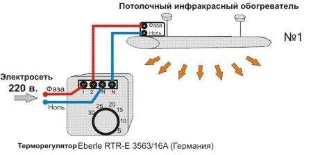 Схема подключения инфракрасного обогревателя к терморегулятору.