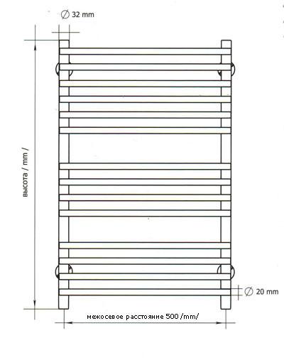 Cхематичное изображение и размеры полотенцесушителя