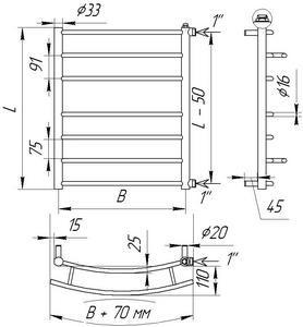 Схема полотенцесушителя из нержавеющей стали