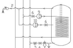 Схема гидросистемы водонагревателей косвенного нагрева