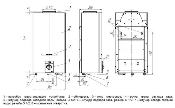 Схема монтажа газовой колонки на кухне