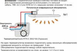 Схема монтажа потолочного инфракрасного обогревателя.