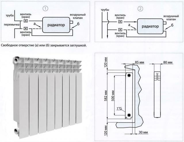 Схема секционного радиатора.
