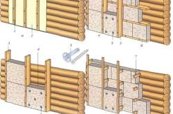 Схема крепления утеплителя к деревянной стене.