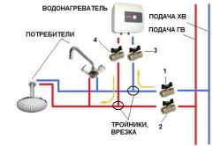 Схема водоснабжения с водонагревателем