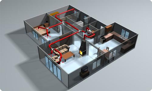 Общая схема функционирования системы воздушного отопления
