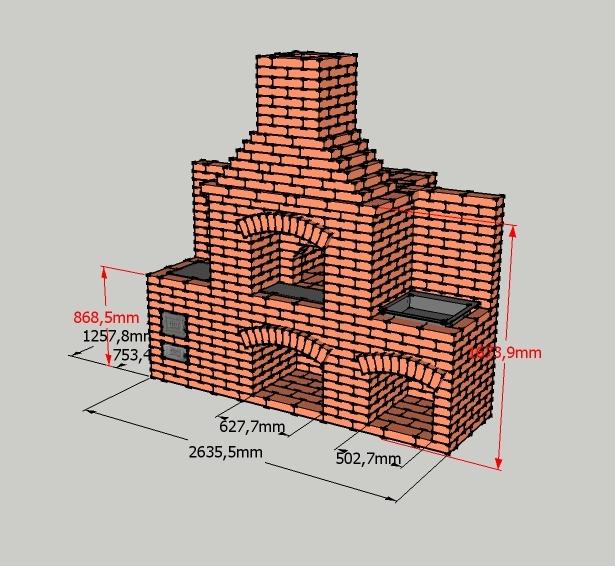Схема печи с размерами