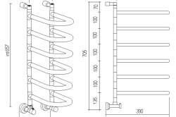 Схема водяного импортного полотенцесушителя.