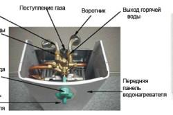 Схема газовой колонки с пьезорозжигом.