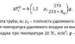 Формула расчета самотяги дымохода.