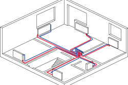 Схема горизонтальной двухтрубной коллекторной системы отопления.