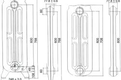 Схема: Размеры чугунного радиатора