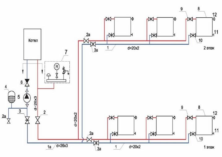 Изобрежение 1. Схема отопления двухэтажного дома