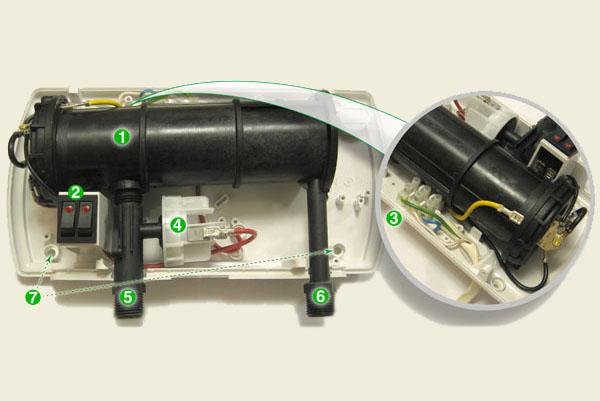 Внутреннее устройство проточного водонагревателя